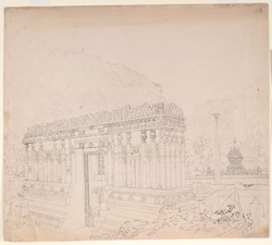 Nandidrug and the gate of the Temple of Nandi (Mysore). March 1834